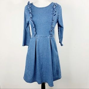 Vintage Denim Fit And Flare Frill Dress Size US 8